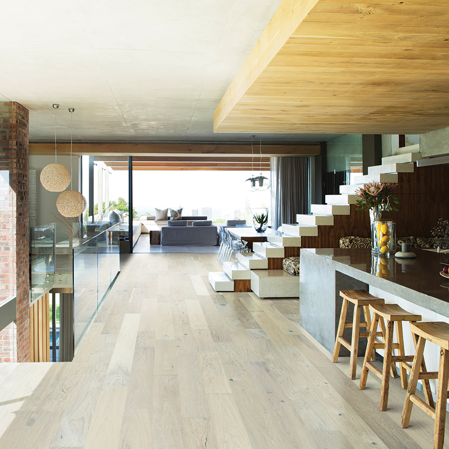 oak wood flooring - oak interior floor w/stairs